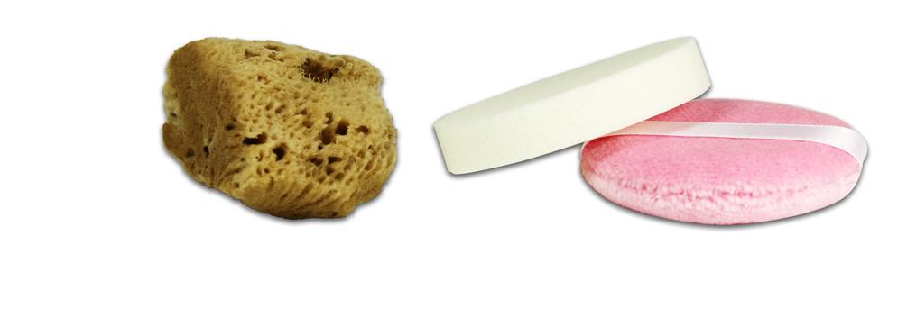 Éponges naturelles, latex et tissu pour maquillage minéral