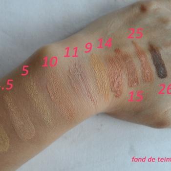 Nuances fond de teint fluide sur la peau