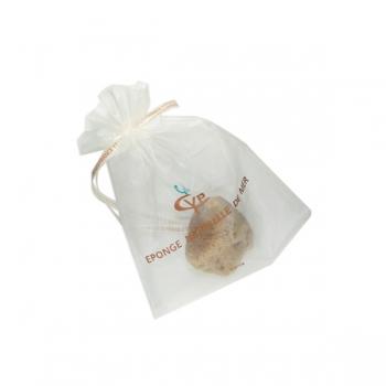 Éponge de mer lavée pour le maquillage et son sachet tissu